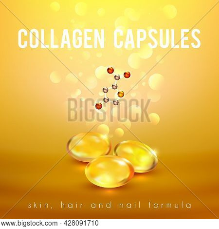 Collagen Capsules For Strong Long Hair And Nails Supplement Formula Advertisement Golden Background