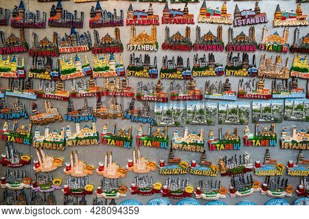 Istanbul - November 2020: Souvenirs With Istanbul Popular Landmarks On Colorful Magnets, Turkey Baza