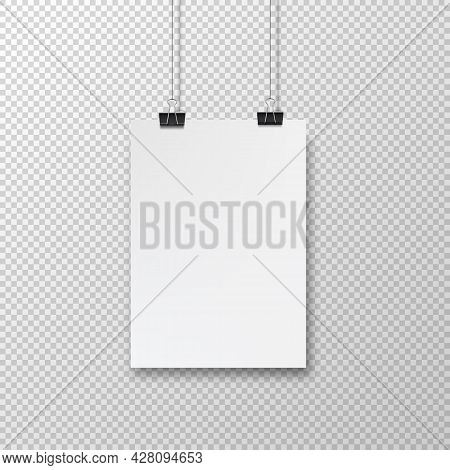 Abstract Poster Design With Hanging Paper. Hanging Paper Poster Mockup. Realistic Vector Blank Templ