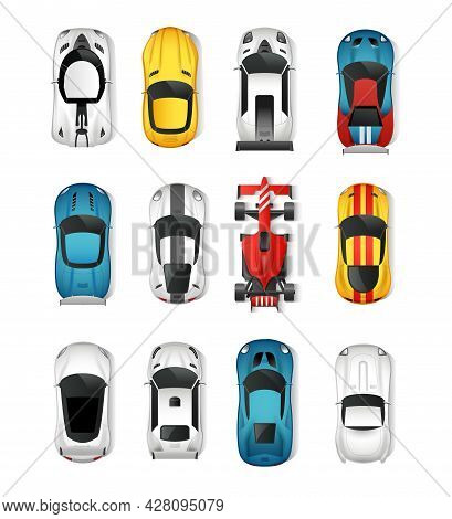 Sport Cars Top View Icons Set. Racing Cars Isolated Vector Illustration. Rally Cars Design Set. Spor