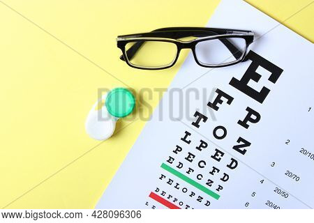 Table For Checking Vision, Glasses And Lenses For Correcting Vision