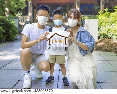 Happy  Family Remained At Quarantine Self-isolation. Stay Home Safe Campaign Concepts