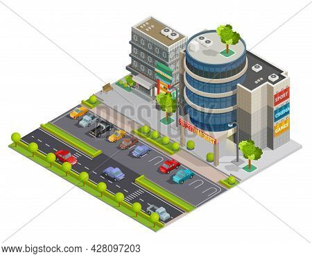 Modern Downtown Shopping Center Mall In Business District Street View With Parking Lot Isometric Com