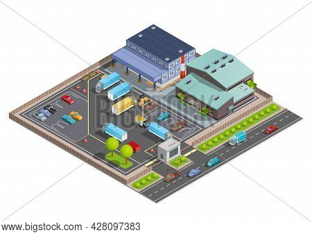 Isometric Warehouse Composition With Terminal And Office Buildings Parking With Vehicles And Checkpo