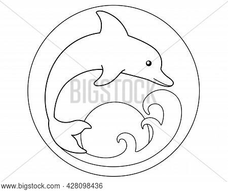 Bottlenose Dolphin Dives Into The Sea Wave Against The Rising Sun Background - Vector Stylized Linea
