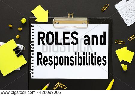 Roles And Responsibilities, Text Of Calculator, Paper Clips And Clips For Paper, Graphs And Diagrams