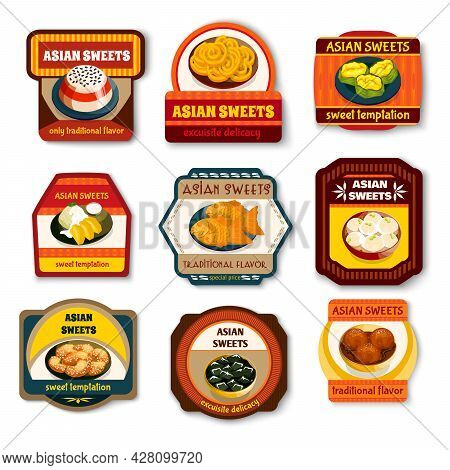 Asian Sweets Dishes Set Traditional Flavor Exquisite Delicacy Vector Illustration