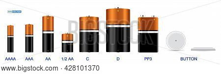 Set Of Realistic Various Alkaline Batteries Isolated Or Cylinder Lithium Battery Rechargeable. Eps V