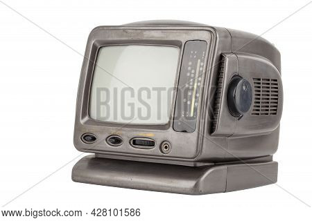 Old 5.5 Inch Protable Analog Crt Tv Unit Isolated On White