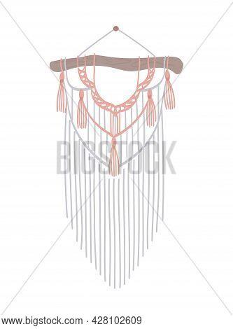 Macrame With Fringe. Diy Boho Style Interior Decor, Handmade Craft Knots. Vintage Design Panel Of Co
