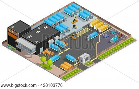 Road Cargo Transportation Isometric Design Concept With Warehouse Parking For Trucks And Refrigerato