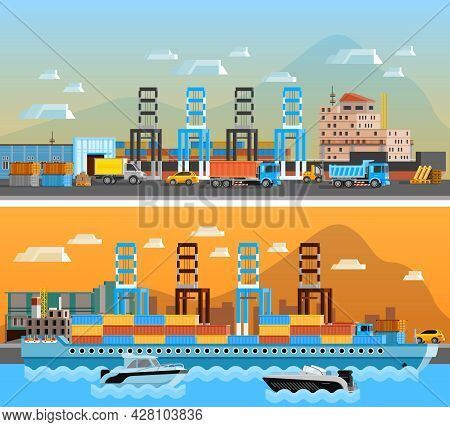 Two Freight Port Horizontal Banners With Dry Cargo Ship At Shipyard And Port Of Loading And Unloadin