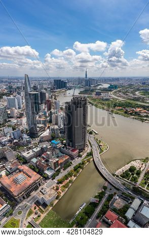 Vertical Photo Of Saigon Downtown In A Summer Day