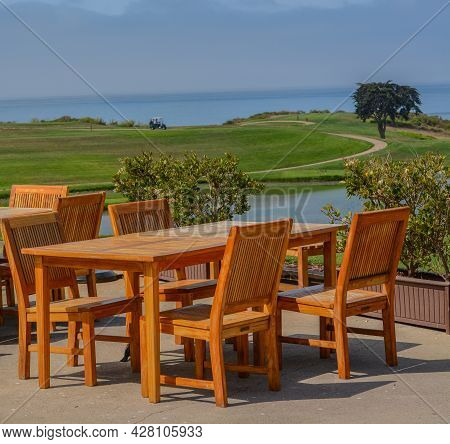 The View From A Table On A Golf Course In Goleta, Santa Barbara County, California
