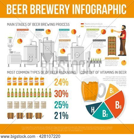 Brewery Infographic Set. Brewery Flat Illustration. Brewery And Beer Vector. Brewery Production Info
