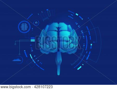 Graphic Of Low Poly Brain With Futuristic Element