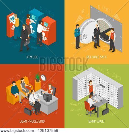 Bank Isometric Concept. Bank Icons Set. Bank Vector Illustration. Bank Office Symbols. Bank Design S