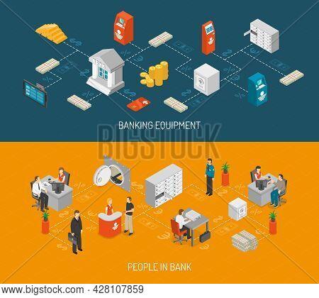 Bank Isometric Concept. Bank Horizontal Banners. Bank Vector Illustration. Bank Set. Bank Design Sym