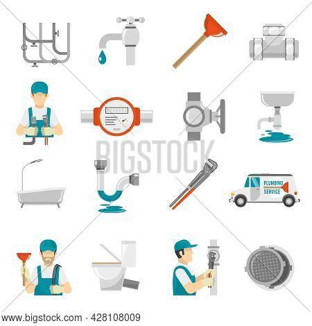 Plumbing Icons Set.plumbing Vector Illustration.plumbing Flat Symbols.plumbing  Design Set. Plumbing