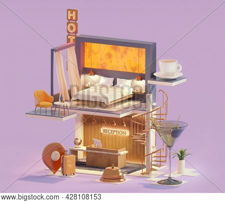 Hotel suite and reception cross-section. Cozy hotel reception interior with stairs to hotel room with bed. Neon sign. Hotel services and accommodation. 3d illustration