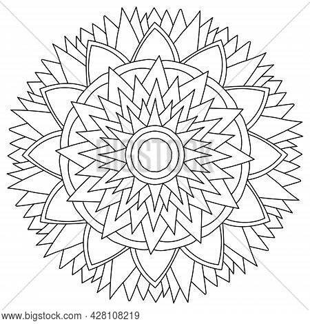 Contour Mandala With Sharp Corners And Flowing Petals, Zen Coloring Page In The Shape Of A Fantasy F