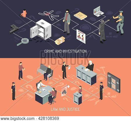 Judicial System Isometric Horizontal Banners With Crime Arrest Evidences Investigation Interrogation