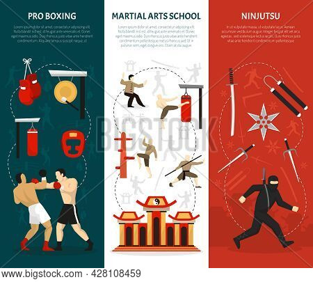 Martial Arts Vertical Banners Set With Ninja Edged Weapon Chinese Temple Combat Training Boxing Isol