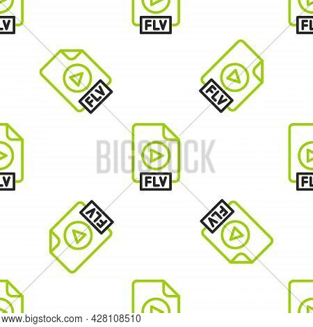 Line Flv File Document Video File Format. Download Flv Button Icon Isolated Seamless Pattern On Whit