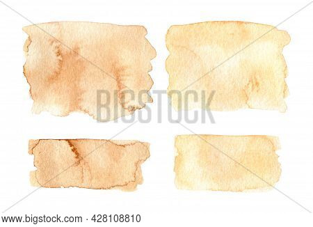 Set Of Abstract Watercolor Stains Of Brown Color Isolated On White Background. Spilled Blots Of Pain