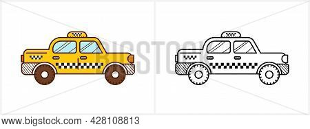 Taxi Cab Coloring Book. Yellow Taxi Side