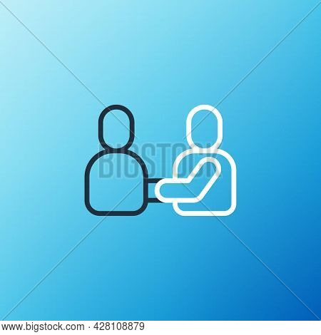 Line Happy Friendship Day Icon Isolated On Blue Background. Everlasting Friendship Concept. Colorful