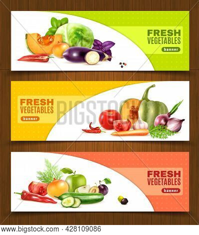 Three Horizontal Banners With Colorful Compositions Of Whole And Chopped Fresh Vegetables And Fruits