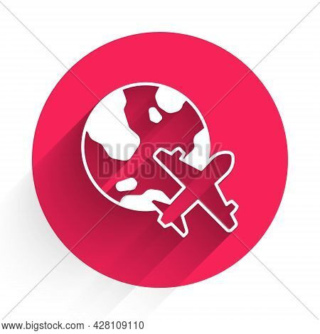 White Globe With Flying Plane Icon Isolated With Long Shadow. Airplane Fly Around The Planet Earth.