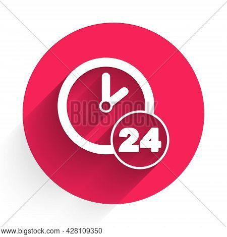 White Clock 24 Hours Icon Isolated With Long Shadow. All Day Cyclic Icon. 24 Hours Service Symbol. R