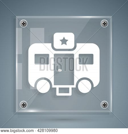 White Machine Trailer Dressing Room For Actors Icon Isolated On Grey Background. Movie Crew Rest Roo