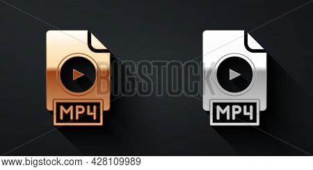 Gold And Silver Mp4 File Document. Download Mp4 Button Icon Isolated On Black Background. Mp4 File S