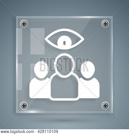 White Spy, Agent Icon Isolated On Grey Background. Spying On People. Square Glass Panels. Vector