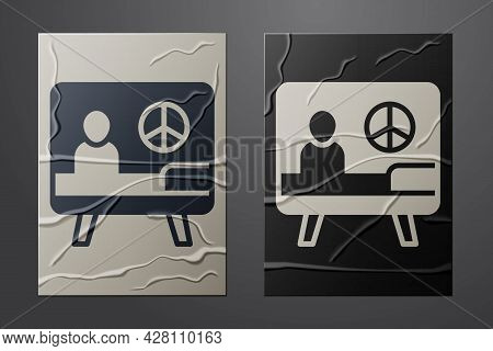 White Peace Icon Isolated On Crumpled Paper Background. Hippie Symbol Of Peace. Paper Art Style. Vec