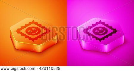 Isometric Lsd Acid Mark Icon Isolated On Orange And Pink Background. Acid Narcotic. Postmark. Postag