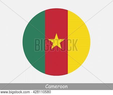 Cameroon Round Circle Flag. Cameroonian Circular Button Banner Icon. Eps Vector