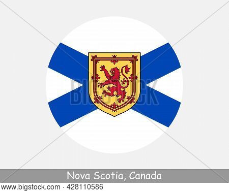 Nova Scotia Canada Round Circle Flag. Ns Canadian Province Circular Button Banner Icon. Eps Vector