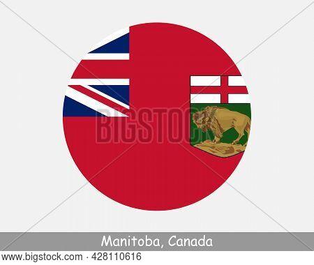 Manitoba Canada Round Circle Flag. Mb Canadian Province Circular Button Banner Icon. Eps Vector
