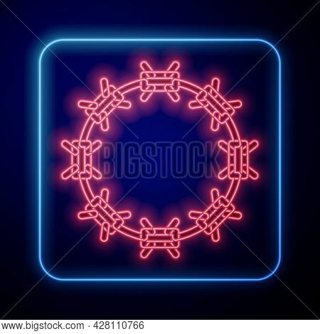 Glowing Neon Crown Of Thorns Of Jesus Christ Icon Isolated On Black Background. Religion, Bible, Chr