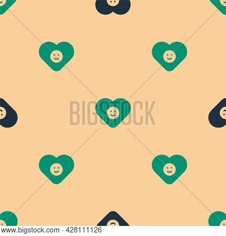 Green And Black Good Relationship Icon Isolated Seamless Pattern On Beige Background. Romantic Relat