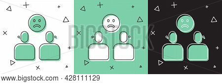 Set Complicated Relationship Icon Isolated On White And Green, Black Background. Bad Communication.