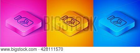 Isometric Line Fertilizer Bottle Icon Isolated On Pink And Orange, Blue Background. Square Button. V