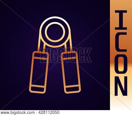 Gold Line Sport Expander Icon Isolated On Black Background. Sport Equipment. Vector