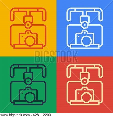 Pop Art Line Gimbal Stabilizer With Dslr Camera Icon Isolated On Color Background. Vector