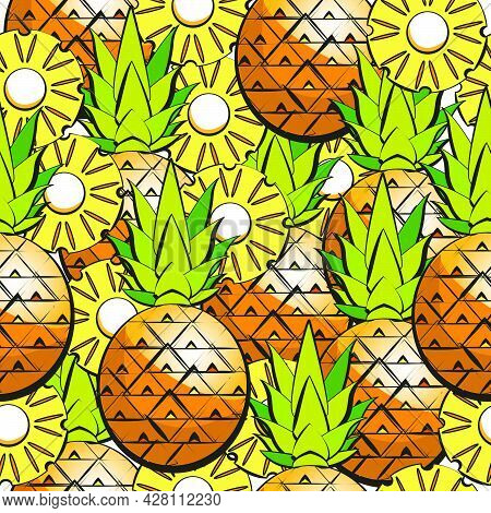 Fresh Pineapple Seamless Vector Background. Pineapple Pattern, Summer Colorful Tropical Textile Prin