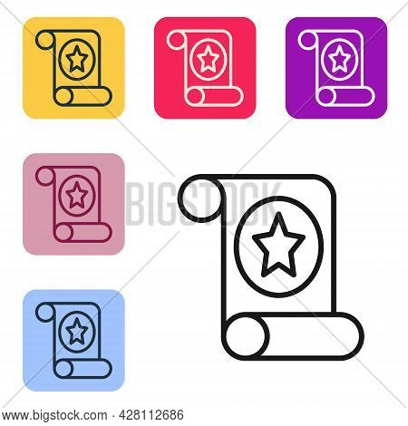 Black Line Magic Scroll Icon Isolated On White Background. Decree, Paper, Parchment, Scroll Icon. Se